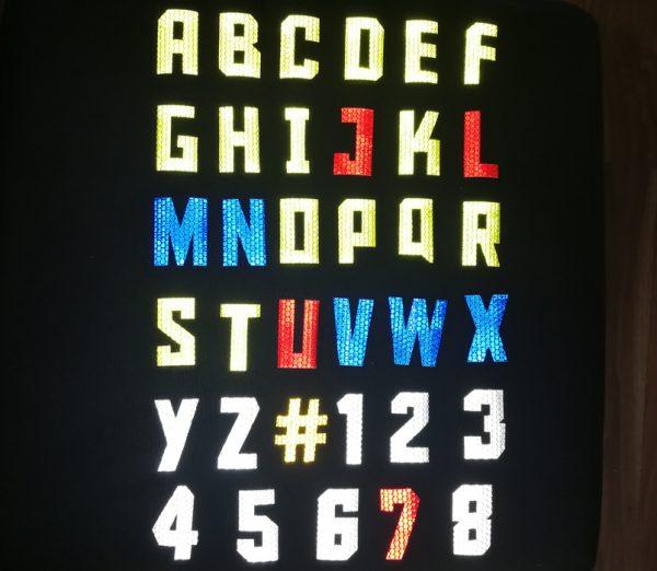 öntapadós fényvisszaverő betűk és számok betűtípus 1