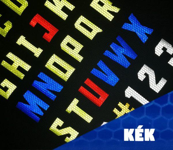 kék öntapadós fényvisszaverő betűk és számok