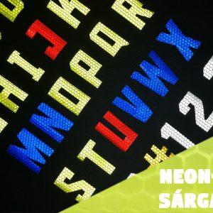 neonsárga öntapadós fényvisszaverő betűk és számok