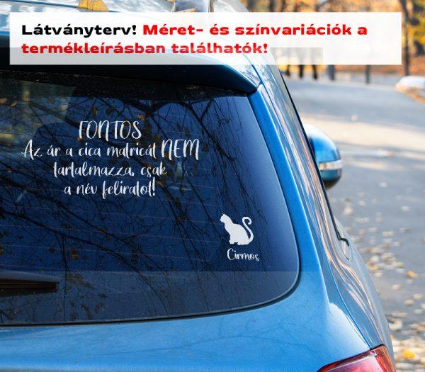 Több színben és méretben cica név matrica autómatrica, laptop matrica, villanykapcsoló matrica látványterv 2